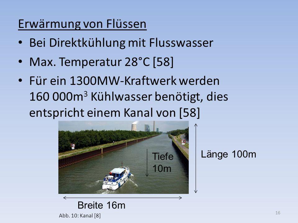 Bei Direktkühlung mit Flusswasser Max. Temperatur 28°C [58]